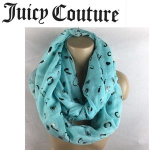 Juicy Couture Blue Logo Print Infinity Scarve